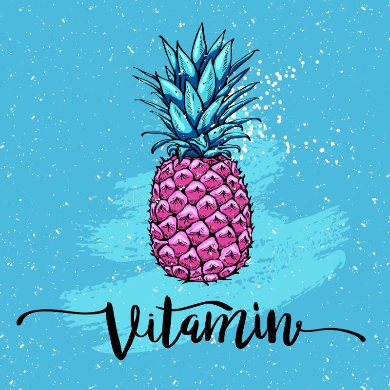 Imagem com o abacaxi cor-de-rosa, rotulando a vitamina no fundo azul Imprima para o t-shirt, elemento gráfico para seu projeto ilustração stock