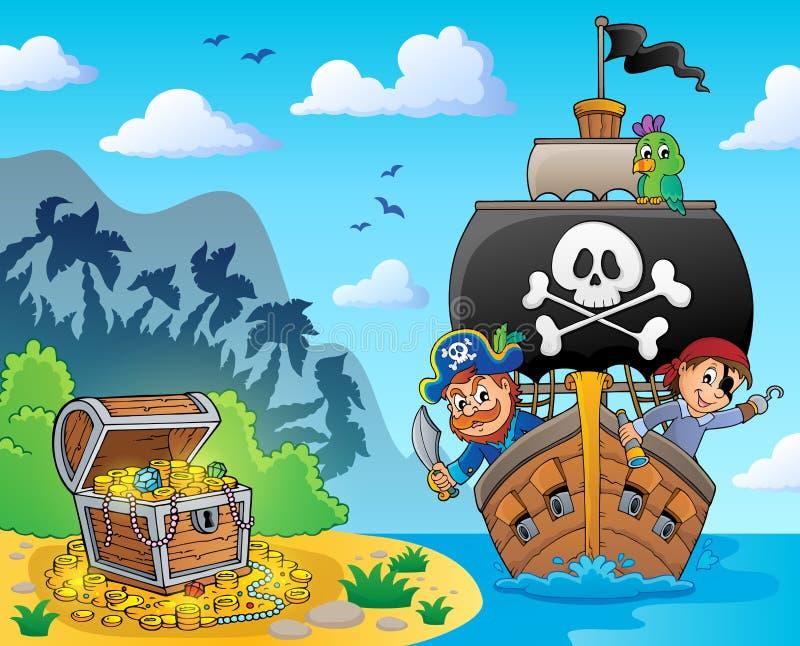 Imagem com tema 6 da embarcação do pirata ilustração stock
