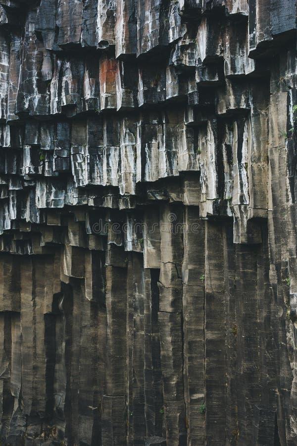 imagem completa do quadro da formação preta da coluna do basalto de Svartifoss foto de stock royalty free