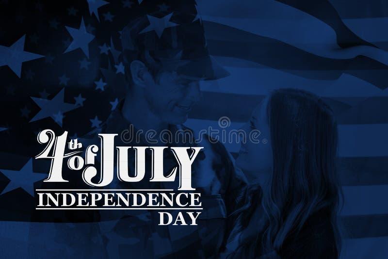 Imagem composta da bandeira de ondulação de América ilustração stock