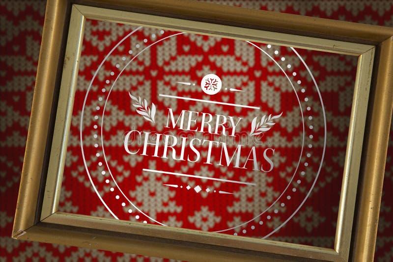 Imagem composta da bandeira e do logotipo que dizem o Feliz Natal ilustração do vetor