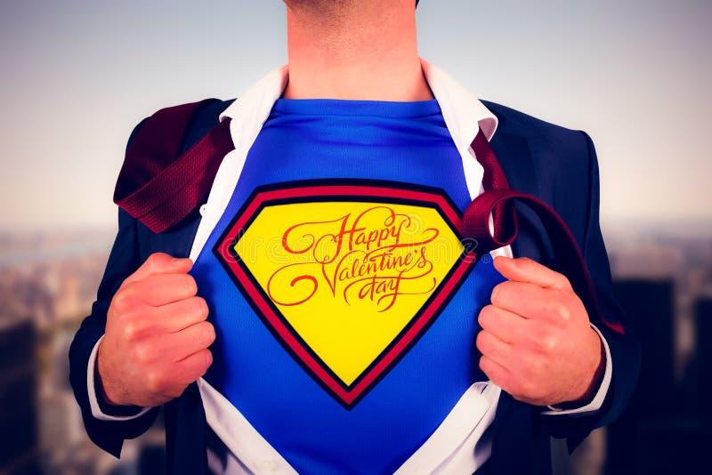 Imagem composta da camisa da abertura do homem de negócios no estilo do super-herói fotos de stock royalty free