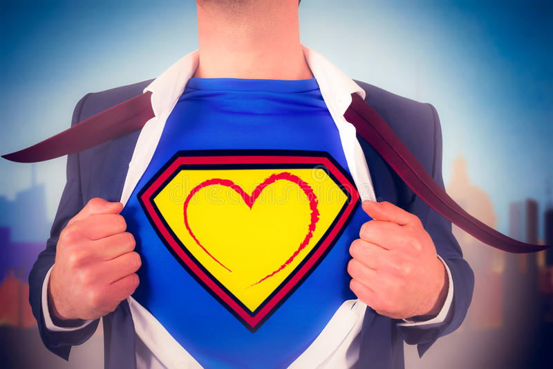 Imagem composta da camisa da abertura do homem de negócios no estilo do super-herói imagens de stock royalty free