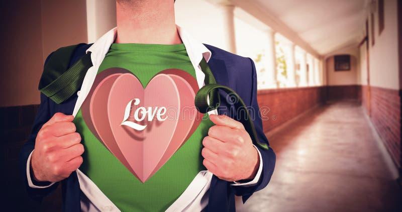 Imagem composta da camisa da abertura do homem de negócios no estilo do super-herói imagem de stock royalty free