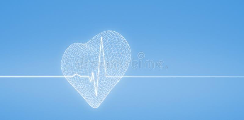 Imagem composta da imagem 3d da forma do coração ilustração do vetor