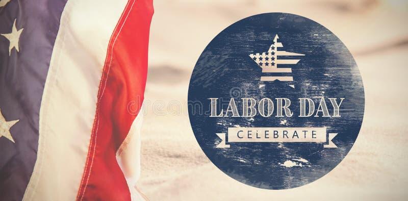 A imagem composta da imagem composta digital de comemora o texto do Dia do Trabalhador com a bandeira americana no po azul ilustração royalty free
