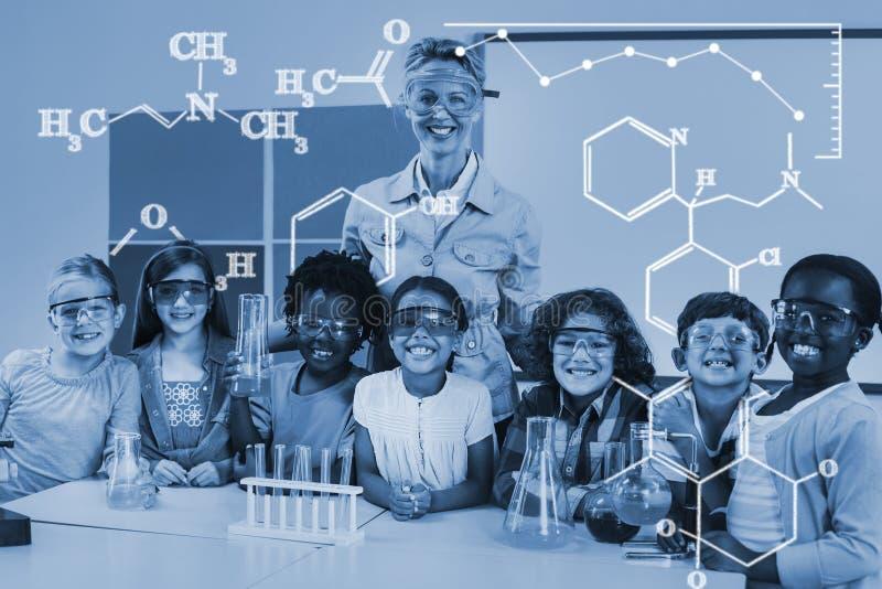 Imagem composta da imagem digital de fórmulas químicas ilustração stock