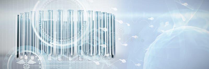 Imagem composta da imagem composta digital da hélice do ADN ilustração stock