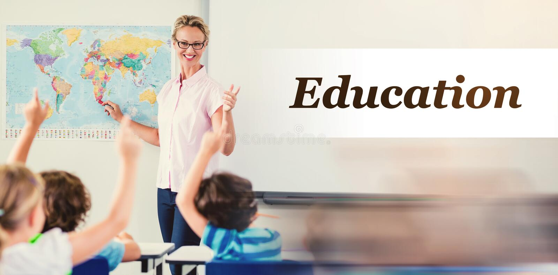 Imagem composta da imagem digitalmente gerada do texto da educação ilustração stock