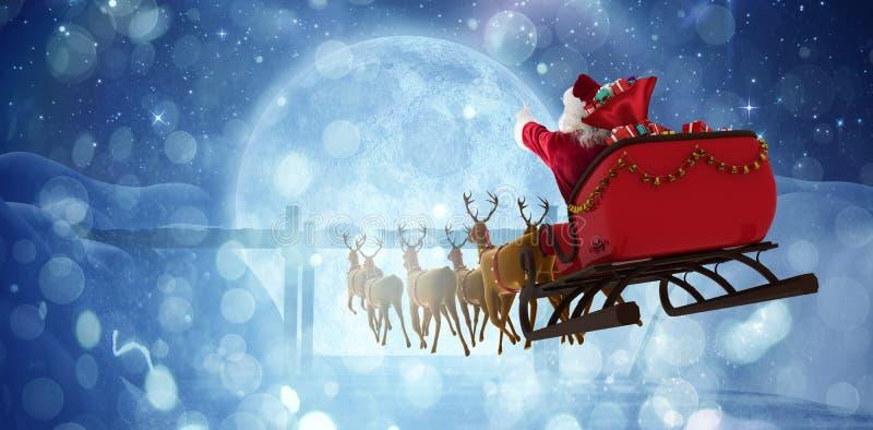 Imagem composta da equitação de Papai Noel no trenó com caixa de presente ilustração stock
