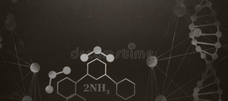 Imagem composta da estrutura de hélice do ADN contra o fundo branco fotografia de stock