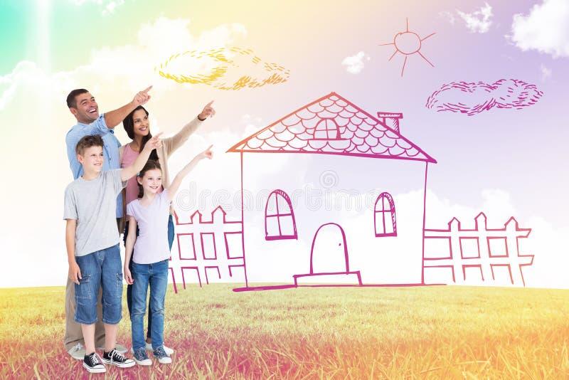 Imagem composta da família de quatro pessoas que aponta no espaço da cópia imagem de stock