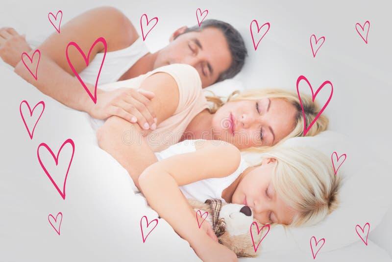 Imagem composta da família que dorme junto ilustração royalty free