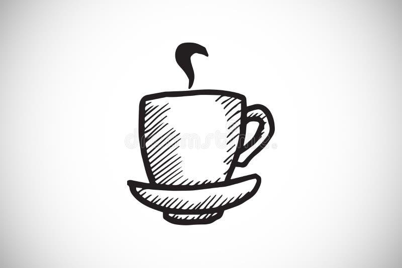 Imagem composta da garatuja da xícara de café com vapor ilustração royalty free
