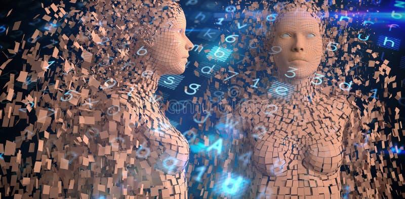 A imagem composta da ideia do perfil do marrom pixelated a mulher 3d ilustração do vetor
