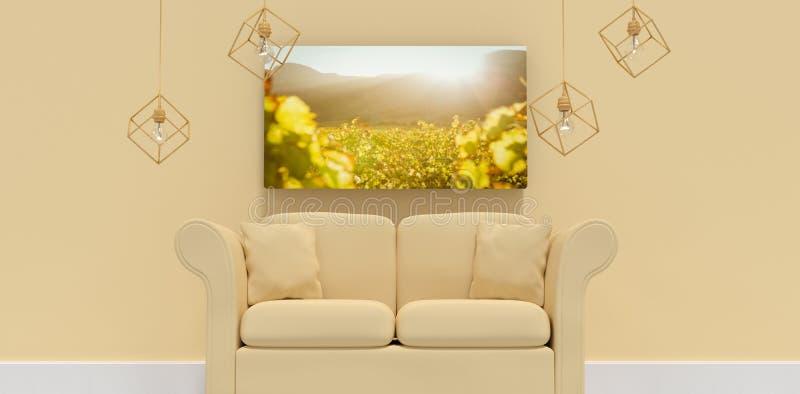 Imagem composta da ilustração 3d do sofá amarelo com coxins ilustração royalty free