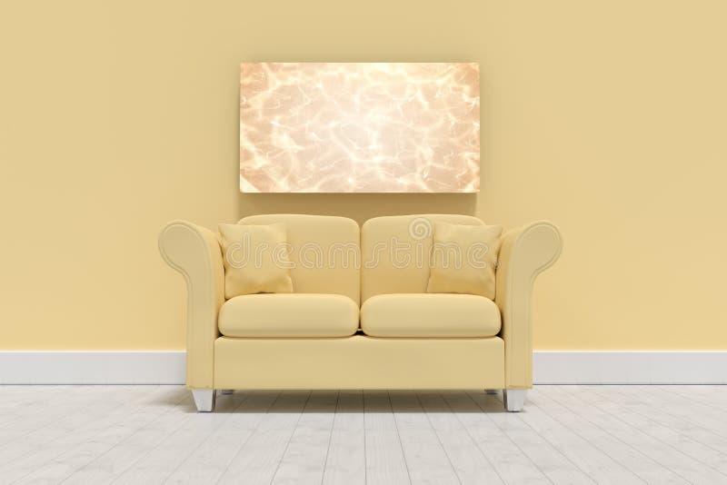 Imagem composta da ilustração 3d do sofá amarelo com os coxins no assoalho ilustração do vetor