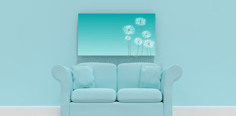 Imagem composta da ilustração 3d do sofá azul com coxins ilustração stock