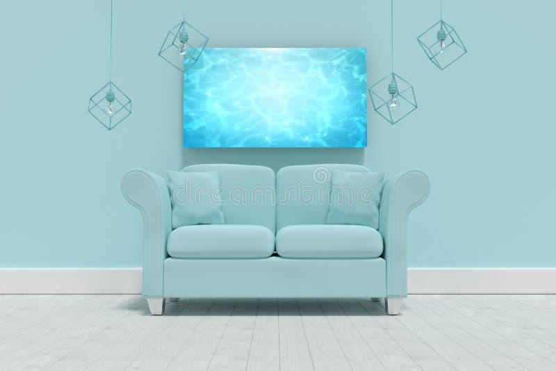 Imagem composta da ilustração 3d do sofá azul vazio com coxins ilustração do vetor