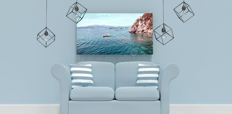 Imagem composta da ilustração 3d do sofá cinzento vazio com coxins ilustração royalty free