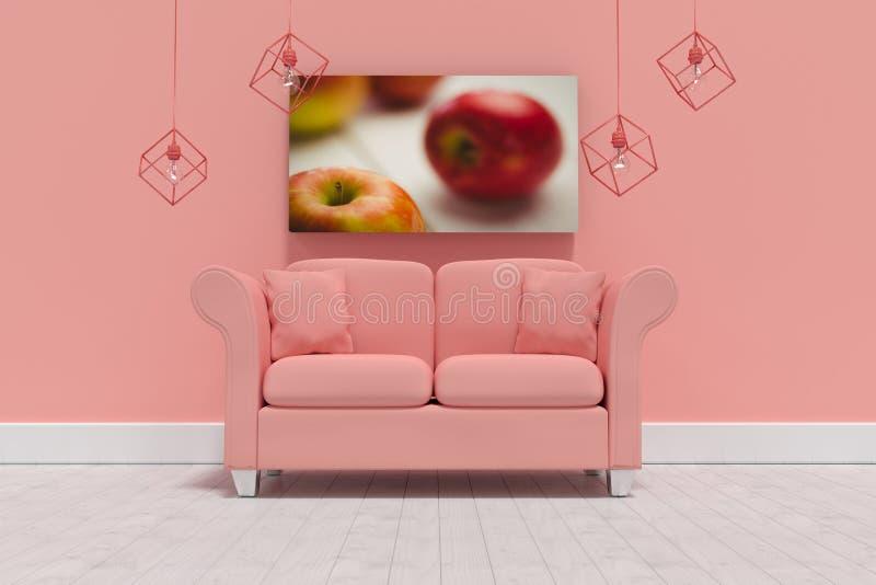 Imagem composta da ilustração 3d do sofá coral vazio com coxins ilustração do vetor