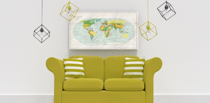 Imagem composta da ilustração 3d do sofá verde com coxins ilustração stock