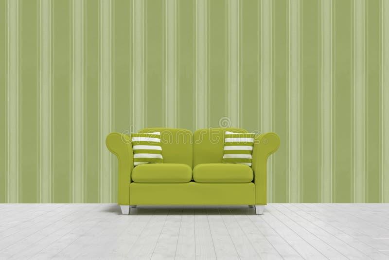 Imagem composta da ilustração 3d do sofá verde com os coxins no assoalho ilustração royalty free