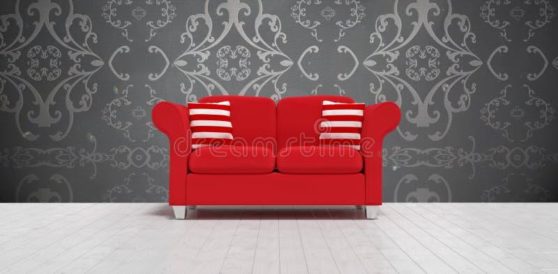 Imagem composta da ilustração 3d do sofá vermelho com coxins ilustração do vetor