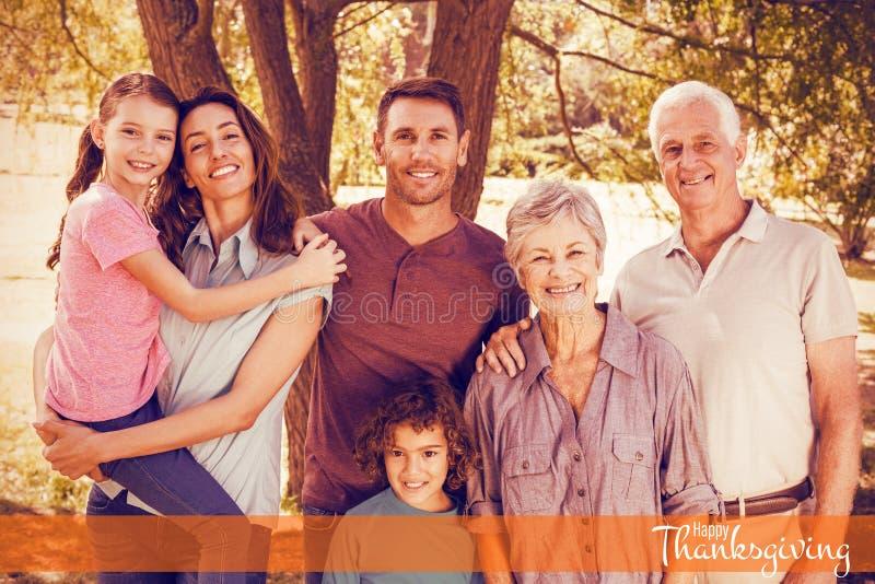 Imagem composta da ilustração do cumprimento feliz do texto do dia da ação de graças imagem de stock royalty free