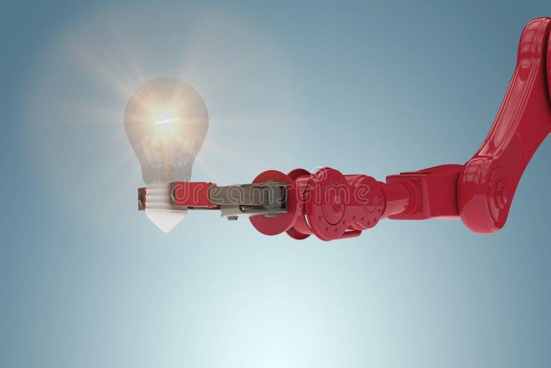Imagem composta da imagem composta da ampola robótico 3d de terra arrendada de braço ilustração royalty free