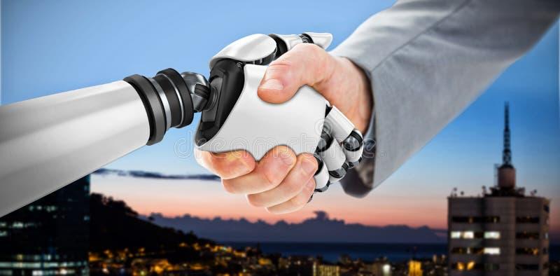 Imagem composta da imagem composta digital do robô e do homem de negócios que agitam as mãos 3d foto de stock
