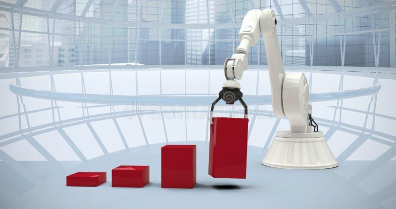 Imagem composta da imagem composta do robô que arranja blocos vermelhos do brinquedo no ghaph 3d da barra imagens de stock