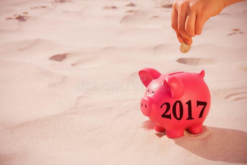Imagem composta da imagem digital do ano novo 2017 fotografia de stock