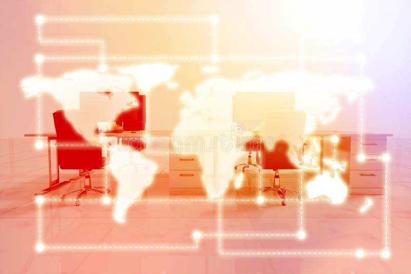Imagem composta da imagem do mundo com linha pontilhada 3d ilustração stock