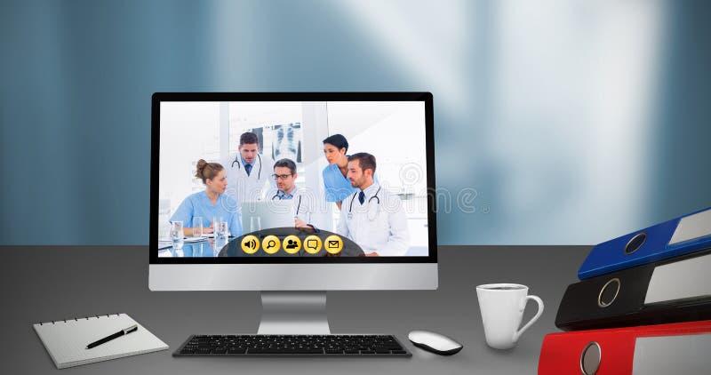 Imagem composta da imagem gerada digital do computador com arquivos na mesa ilustração royalty free