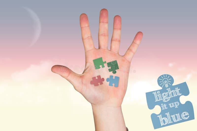 Imagem composta da mão com os dedos espalhados para fora fotografia de stock royalty free