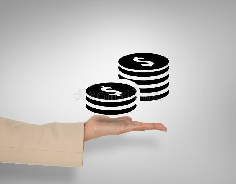A imagem composta da mão fêmea que apresenta o dólar inventa imagem de stock royalty free