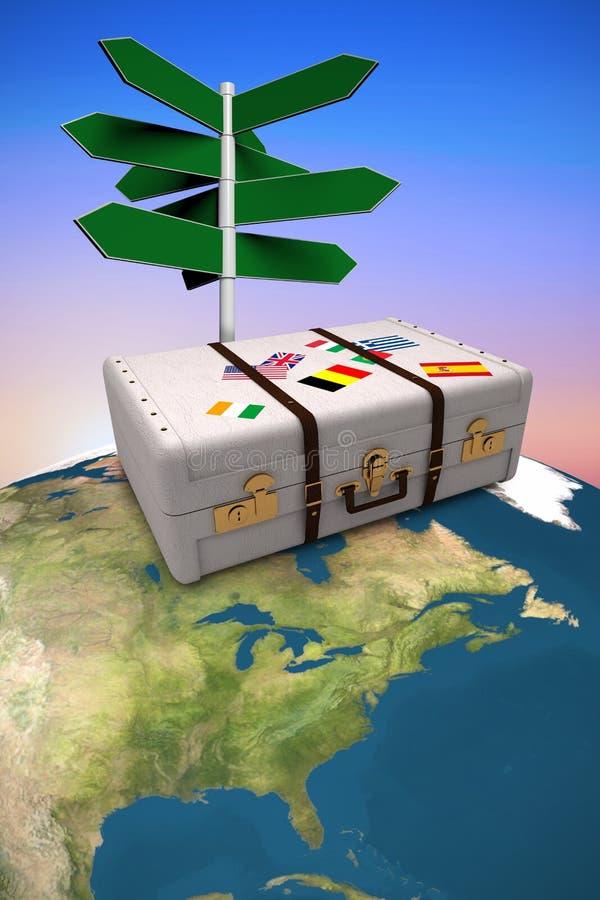 Imagem composta da imagem composta da mala de viagem ilustração do vetor
