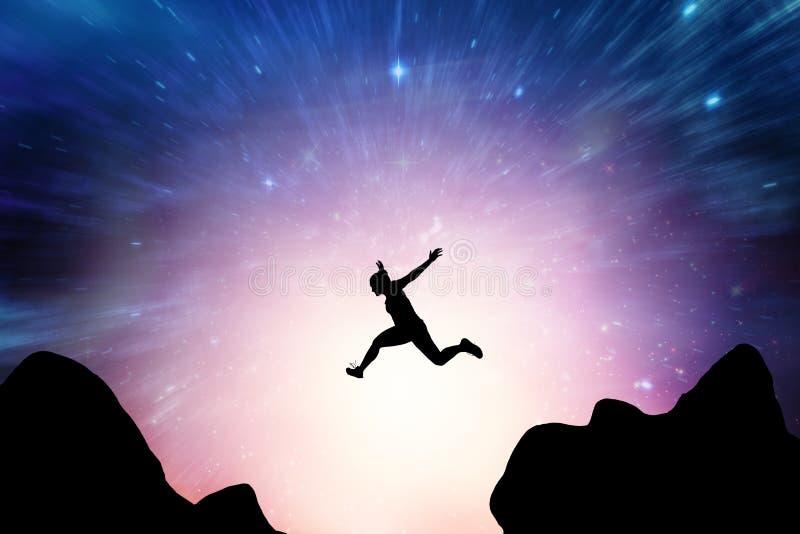 Imagem composta da mulher atlética que corre no fundo branco ilustração royalty free