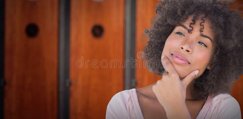 Imagem composta da mulher bonita que olha pensativa fotos de stock royalty free