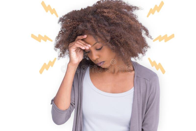 Imagem composta da mulher com dor de cabeça ilustração stock