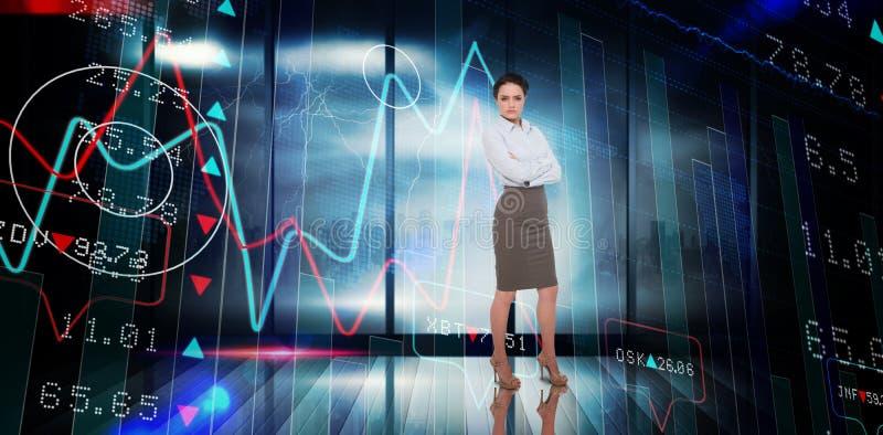 Imagem composta da mulher de negócios com os braços cruzados imagens de stock