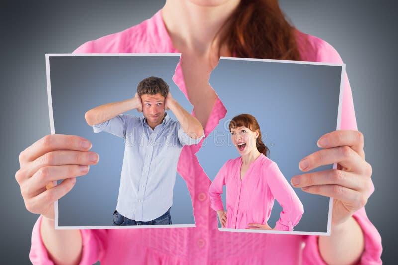 Imagem composta da mulher que discute com a ignorância do homem foto de stock