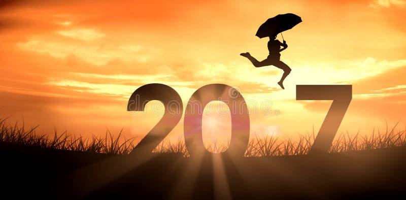 Imagem composta da mulher que salta com guarda-chuva imagens de stock royalty free
