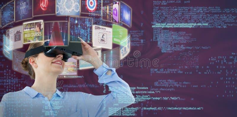Imagem composta da opinião de baixo ângulo a mulher de negócios que usa os auriculares 3d da realidade virtual foto de stock royalty free
