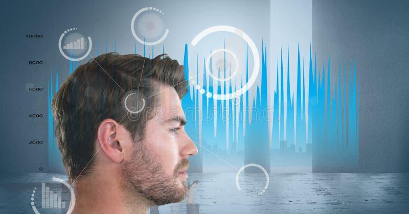 Imagem composta da opinião lateral o homem com gráficos estatísticos e imagens digitais fotos de stock