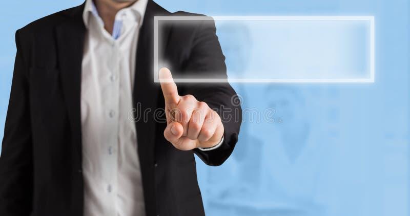 Imagem composta da posição e de apontar do homem de negócios fotografia de stock