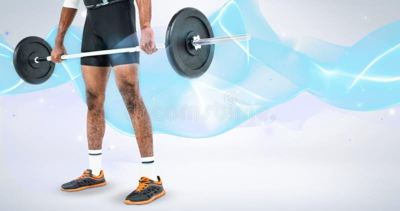 Imagem composta da seção mestra do halterofilista que levanta pesos pesados do barbell imagens de stock royalty free