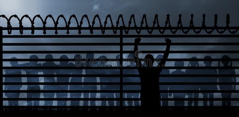 Imagem composta da silhueta masculina cheering ilustração royalty free