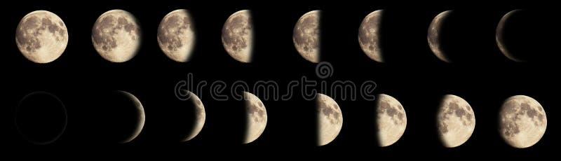 Imagem composta das fases da lua fotografia de stock